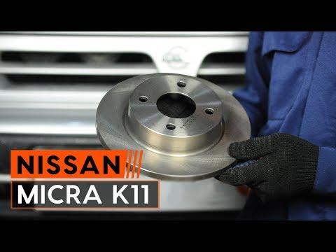 Как да сменим предни спирачни дискове и предни спирачни накладки наNISSAN MICRA 2 Хечбек