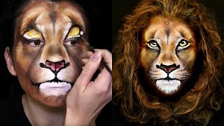 getlinkyoutube.com-Lion Makeup & Face Painting Tutorial