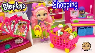 getlinkyoutube.com-Shopkins Shoppies Doll Bubbleisha Small Mart Shopping with Stickers Blind Bags