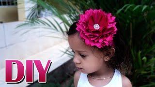 getlinkyoutube.com-Tiara de renda elástica com flor de cetim | DIY - PAP