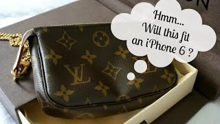 getlinkyoutube.com-Louis Vuitton Mini Pochette (unboxing) and will it fit an iphone 6 ?