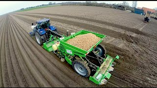 getlinkyoutube.com-Potato Planting  | New Holland T7070 Blue Power + Miedema Structural belt planter Loonbedrijf Breure
