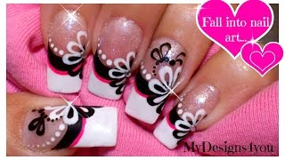 getlinkyoutube.com-Floral Nail Art | Monochrome Flower French Using Dotting Tool!  ♥ Цветочный Дизайн Ногтей Дотсом