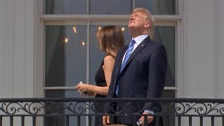 President Trump Removes Solar Glasses While Watching Eclipse