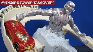 getlinkyoutube.com-Hot Wheels Avengers Tower Takedown Track Play Set From Avengers Age Of Ultron