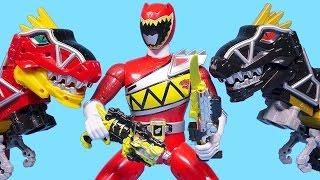 getlinkyoutube.com-Power Rangers Dino charge Red and dinosaur transformers toys