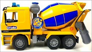 BRUDER MIGHTY MACHINE CEMENT TRUCK ON THE JOBSITE WITH REAL WATER & WORKING BARREL - UNBOXING