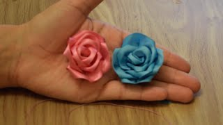 getlinkyoutube.com-Make Rose Flower from Satin Ribbon.DIY.