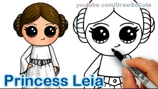 getlinkyoutube.com-How to Draw Star Wars Princess Leia Cute step by step Easy - Carrie Fisher