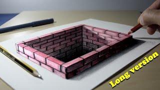 getlinkyoutube.com-3D Trick Art on Paper Brick hole Long version