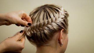 """getlinkyoutube.com-Прическа из косичек """"Корзинка"""". Hairstyle of braids"""