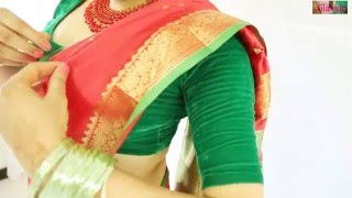 getlinkyoutube.com-How To Wear Wedding South Indian Silk Saree Perfectly To Look Beautiful