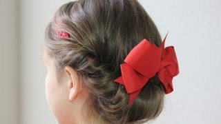 getlinkyoutube.com-ヘアバンドを使ってまとめ髪/ギブソンタック1 Simple updo hairstyle with Rainbow loom headband