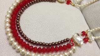 getlinkyoutube.com-How to make necklace | DIY beaded  necklace |