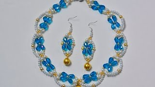 getlinkyoutube.com-How to Make a Blue and White Beaded Bridal Necklace and Earrings Set