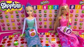 getlinkyoutube.com-Queen Elsa Disney Frozen Plays Shopkins BINGO Barbie Princess Doll Season 3 Blind Bag Unboxing Video