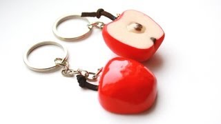 getlinkyoutube.com-Polymer clay apple half key ring TUTORIAL (Valentine's day project)