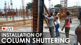 getlinkyoutube.com-Formwork for Concrete Column Construction - Shuttering System of Column - Application on site