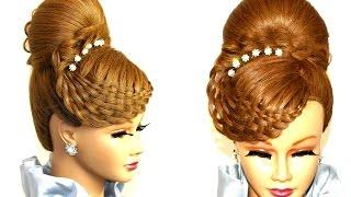 getlinkyoutube.com-Braided hairstyle for long hair. Bun updo