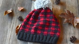 getlinkyoutube.com-Crochet Plaid Slouchy Hat Video Tutorial