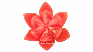 getlinkyoutube.com-Beautiful Lotus Flower Tomato - Beginners Lesson 42 By Mutita Art In Fruit And Vegetable Carving