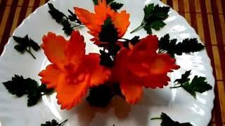 getlinkyoutube.com-HOW TO MAKE CARROT FLOWER - CARROT GARNISH & VEGETABLE CARVING - CARROT DECORATION - CARROT ART