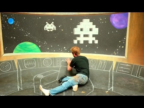 Star Trek Bridge  x Space Invaders 3D Chalk Art