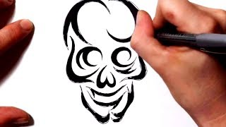 getlinkyoutube.com-How to Draw a Tribal Skull Tattoo Design