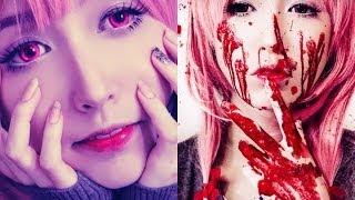 getlinkyoutube.com-Inspired Makeup Gasai Yuno Mirai Nikki