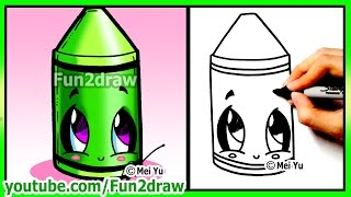 getlinkyoutube.com-Learn to Draw step by step - Back to School Cute Crayon Art - Best Drawing Lessons by Fun2draw