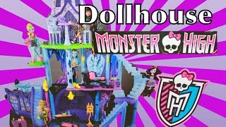 getlinkyoutube.com-Giant Barbie MONSTER HIGH DOLLHOUSE Spiderman Ever After High Evil Queen Ariel Ursula Toy Review
