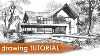 Drawing tutorial - how to draw a modern house