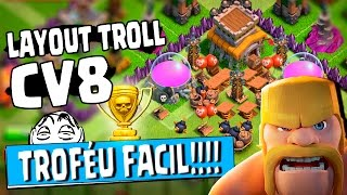 getlinkyoutube.com-Replays INSANOS haha - LAYOUT TROLL CV8 (TH8) Ganhando trofeu fácil | Clash of Clans | Hu3 BR