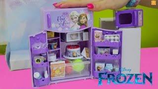 getlinkyoutube.com-Disney Frozen Refrigerator Fridge Freezer Toy Set Review with Elsa and Anna