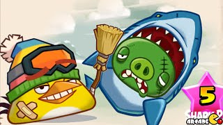 getlinkyoutube.com-Angry Birds Fight - Monster Shark Pig Raid Snow Island 8-7! iOS/ Android