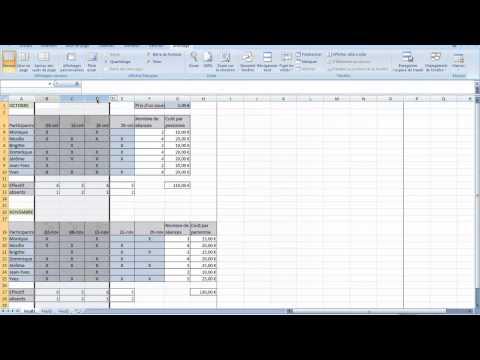 EXCEL - Calculs de base - Club de Sport - Partie 2