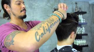 getlinkyoutube.com-Messy Top Knot Hairstyle | Euro Soccer Cut
