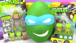 getlinkyoutube.com-Giant Ninja Turtle Play doh Surprise Egg Leo TMNT with Minecraft Disney Cars and Tokidoki Toys