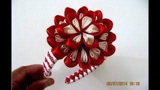 getlinkyoutube.com-Flores bom bom diademas moñitos dos colores en cintas para el cabello
