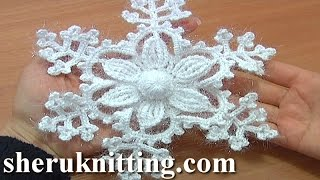 Snowflake Ornament Crochet Tutorial 8 Part 1 of 2 6-Petal Flower Center