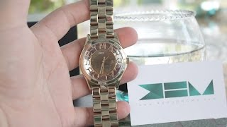 getlinkyoutube.com-Đồng hồ Marc Jacobs - Women Henry Skeleton Gold Tone Watch
