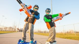 Hoverboard Challenge!  Epic Hover-Hockey, Nerf Battles, and Obstacle Races!