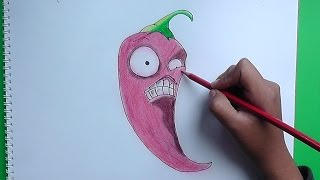 getlinkyoutube.com-Dibujando a Jalapeño (plants vs zombies) - Drawing a Jalapeño