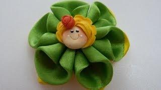 getlinkyoutube.com-flores dobles para el cabello en cinta paso  a paso. tutorial moños pequeños