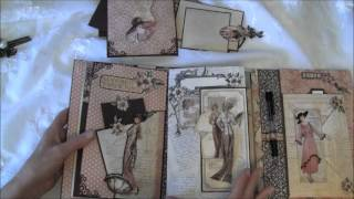 getlinkyoutube.com-Graphic 45 A Ladies Diary year book journal / mini album  - tutorial