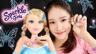 getlinkyoutube.com-캐리의 스파클걸즈 네일 디자인 인형 장난감 헤어 손톱 꾸미기 놀이 CarrieAndToys