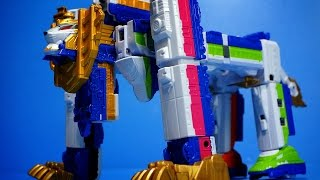 getlinkyoutube.com-파워레인저 트레인포스 DX 사파리킹 열차합체 로봇 최종열차포 대회전 캐논 장난감 동영상 烈車戦隊トッキュウジャー power rangers toys