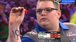 getlinkyoutube.com-ALMOST THE BIGGEST SHOCK IN WORLD DARTS HISTORY - Michael van Gerwen vs Rene Eidams - First Round