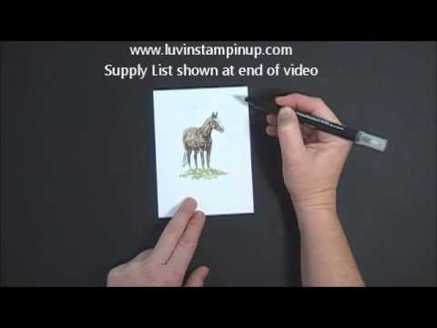 Stampin' UP! Horse Frontier Card Blender Pen Technique