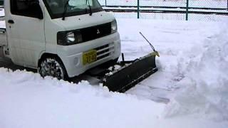 getlinkyoutube.com-軽トラック用スノープラウ 除雪作業 2